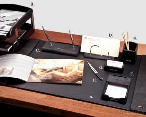 Luxury Black Leather 8-Pc Desk Set